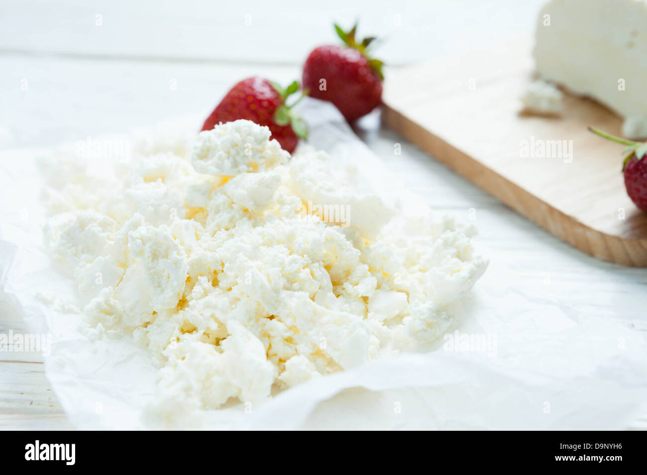 fresh homemade cottage cheese, dairy product, food - Stock Image