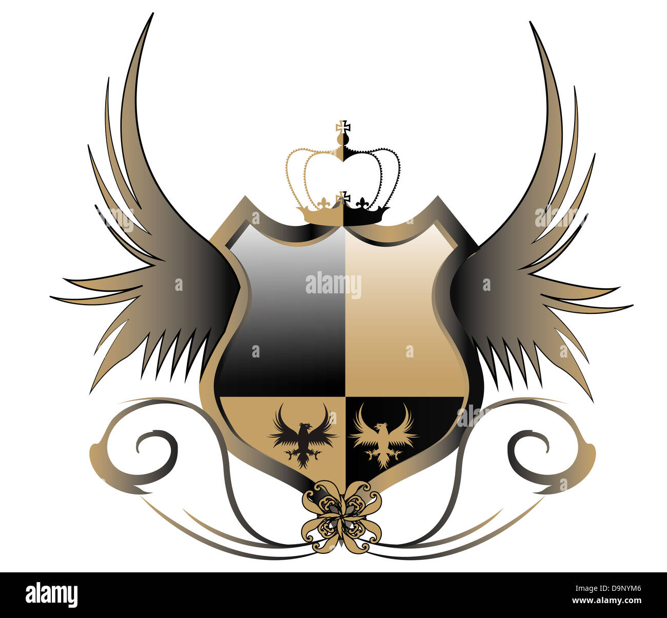 crest crown wings royal knight chivalrous fashionable shield