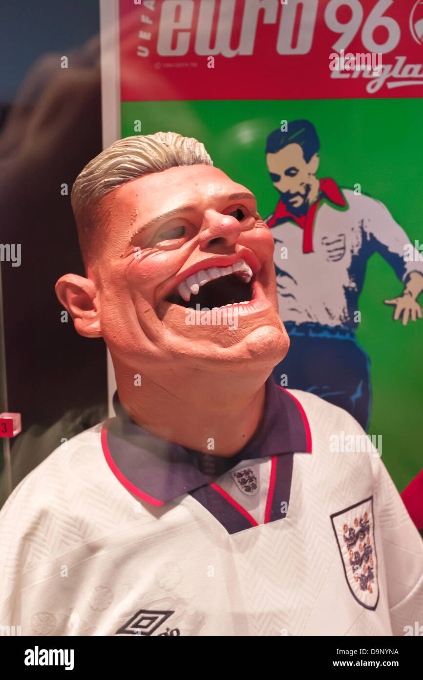 Paul Gascoigne's Spitting Image puppet in the National Football Museum at Urbis in Manchester city centre, UK - Stock Image