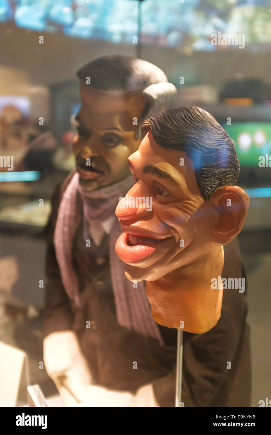 Spitting Image puppets of Gary Lineker and Jose Mourinho in the National Football Museum at Urbis in Manchester - Stock Image