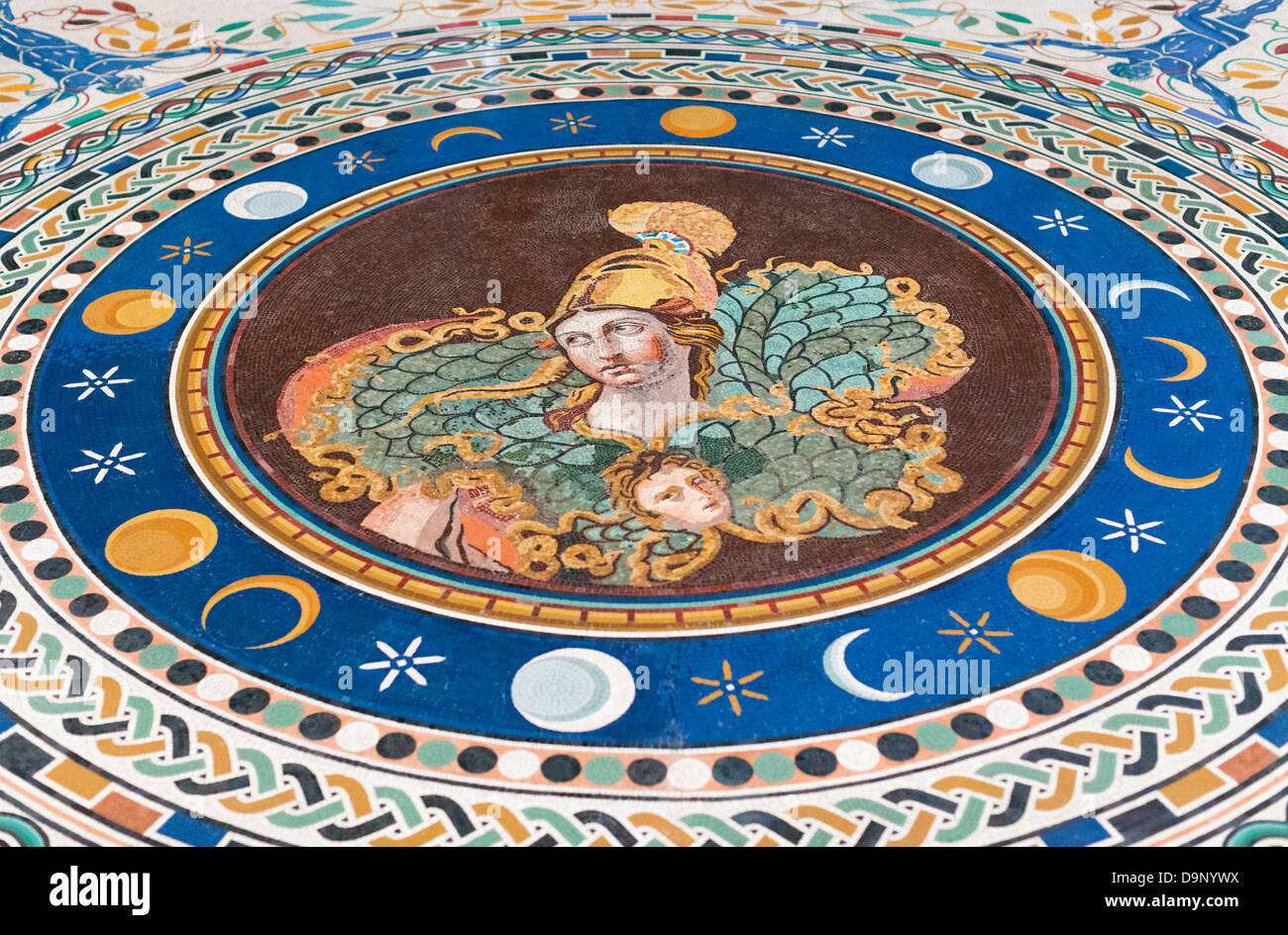 Mosaic with the bust of Athena, greek cross room, Vatican museums, Rome, Italy - Stock Image