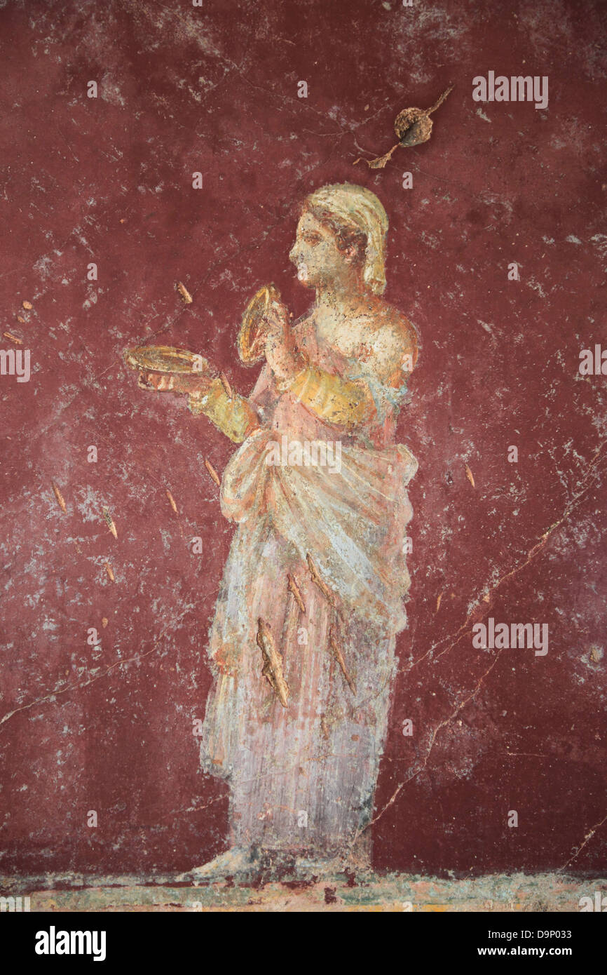 Historic wall fresco in the Villa San Marco, Stabiae, Castellammare ...