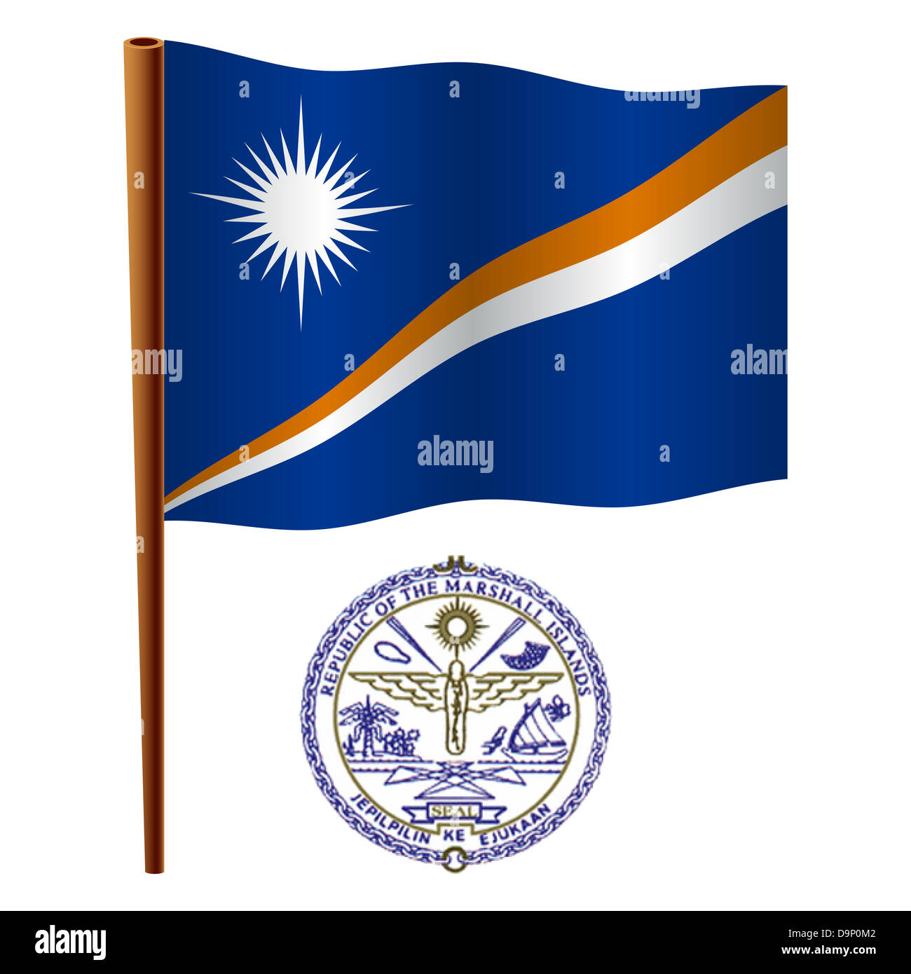 marshall islands wavy flag and coat of arm against white background, vector art illustration, image contains transparency - Stock Image
