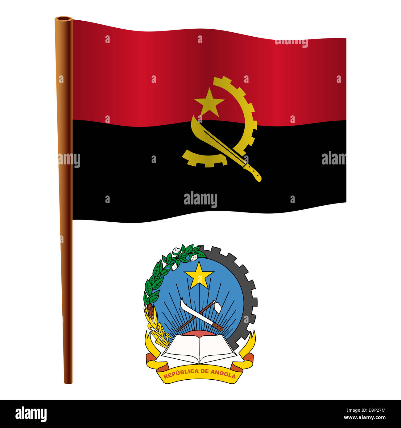 angola wavy flag and coat of arms against white background, vector art illustration, image contains transparency - Stock Image