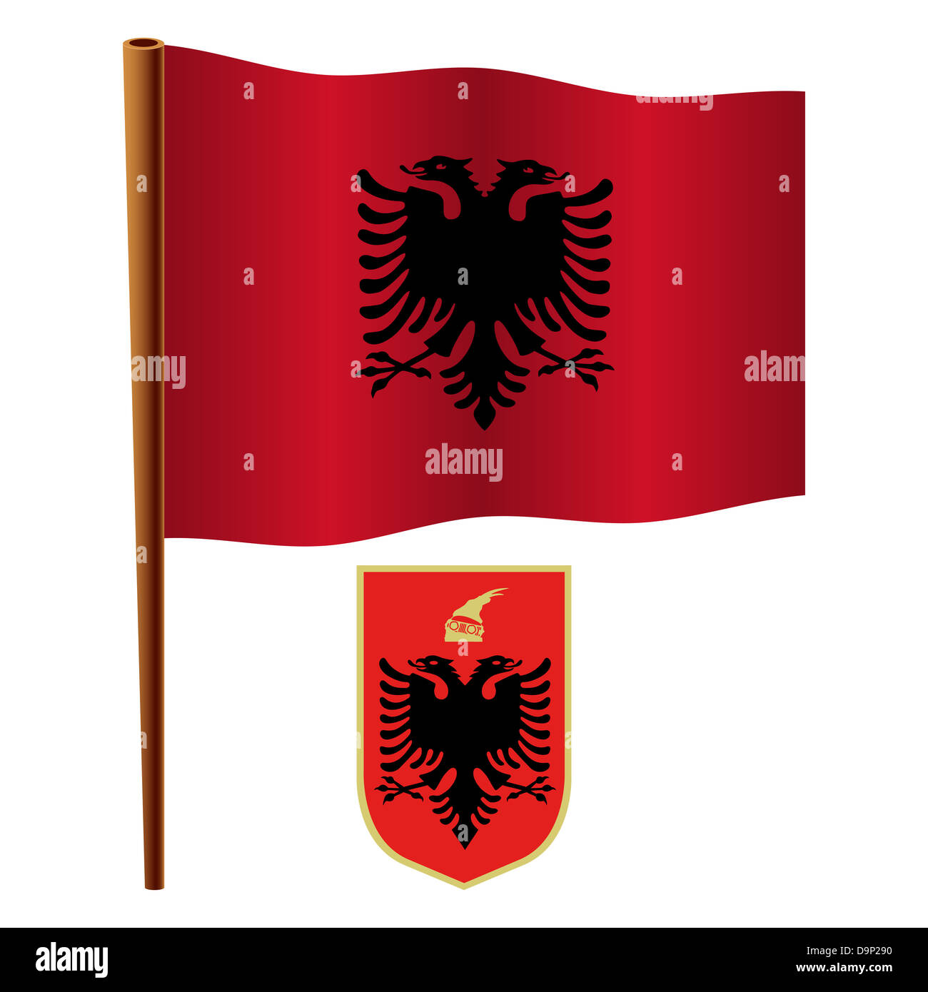 albania wavy flag and coat of arms against white background, vector art illustration, image contains transparency - Stock Image