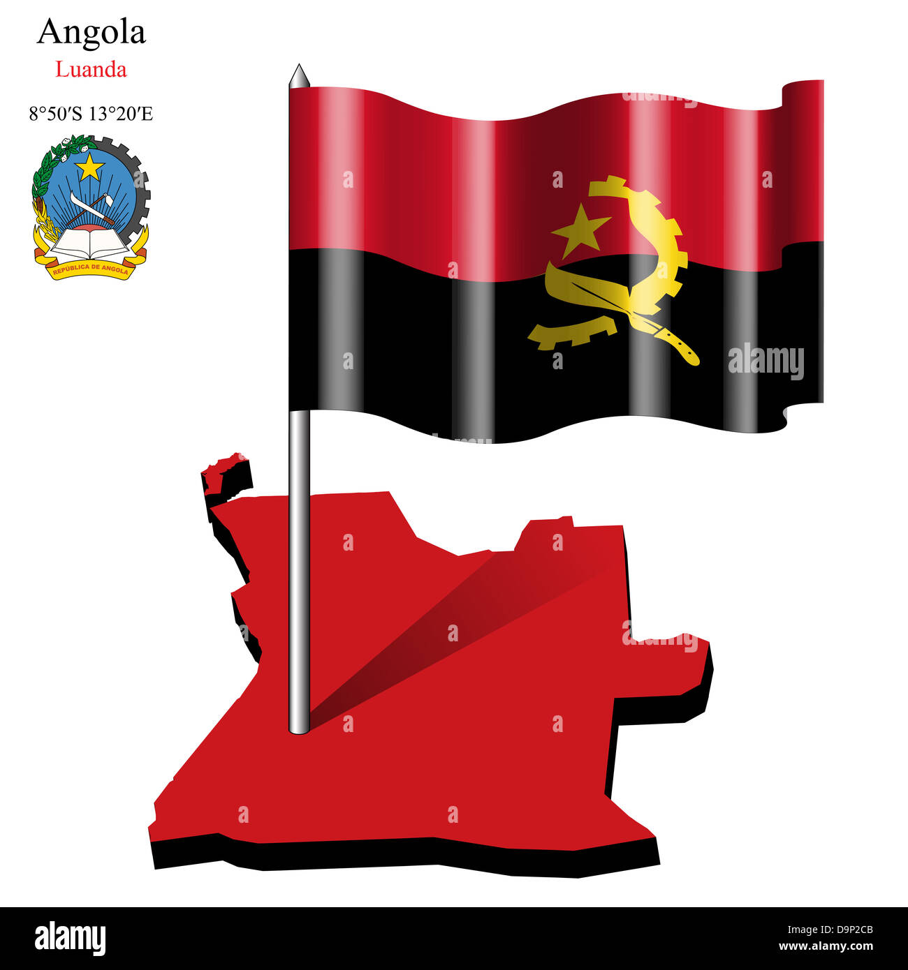 angola wavy flag over map against white background, abstract vector art illustration, image contains transparency - Stock Image