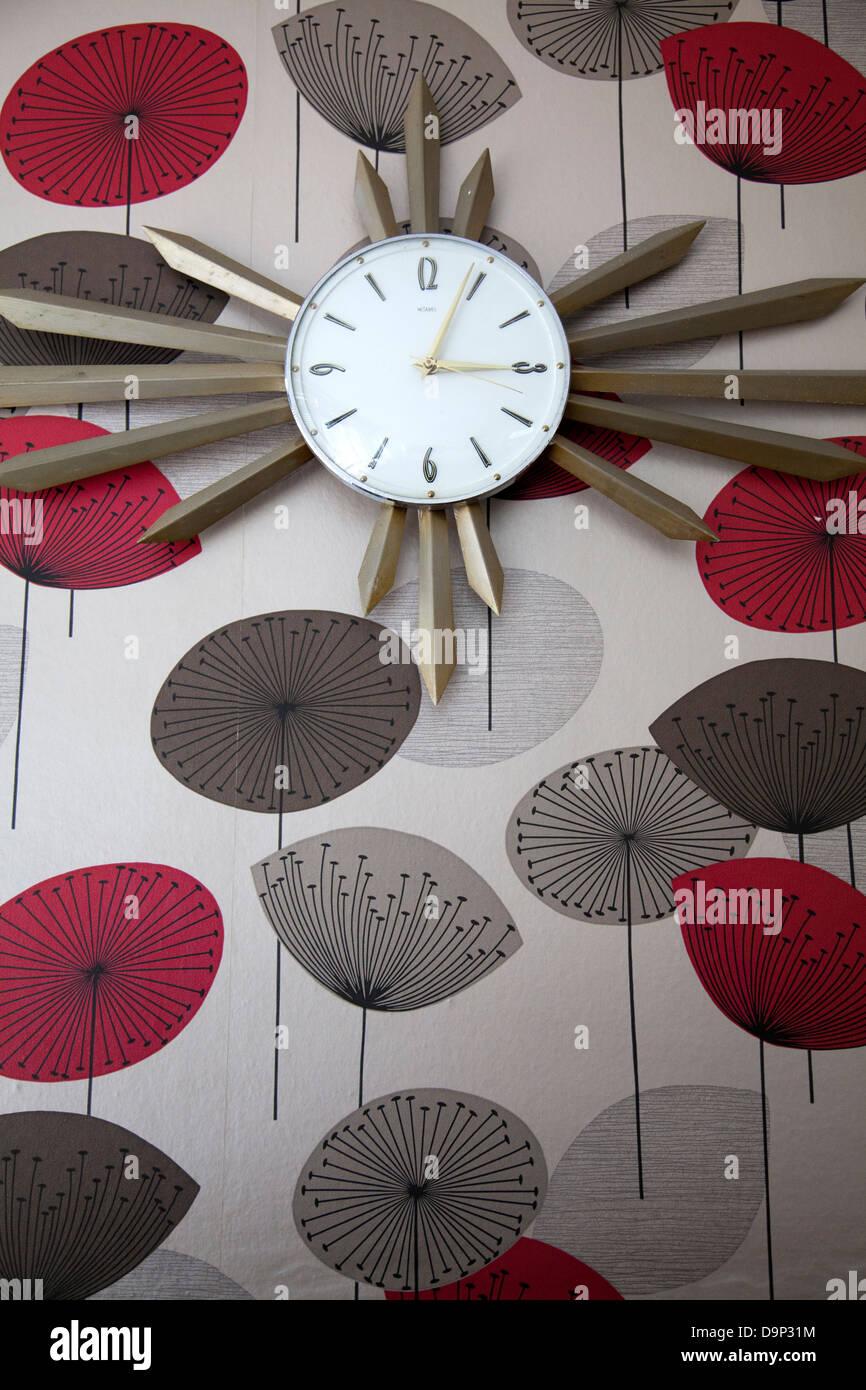 Retro Clock On Wallpaper In Interior