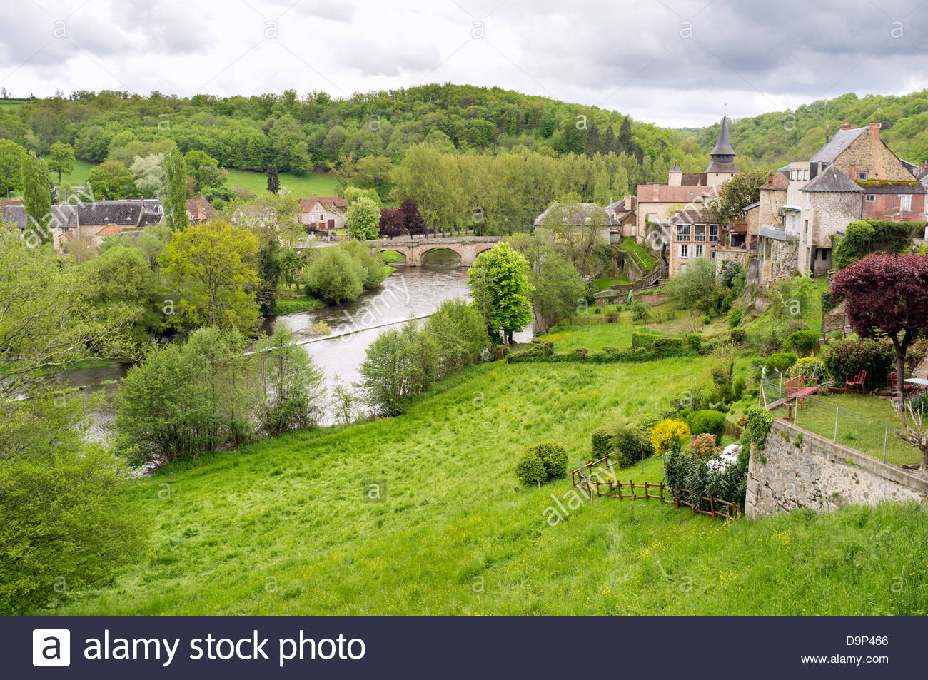 View of La Celle-Dunoise, La Creuse, Limousin, France - Stock Image