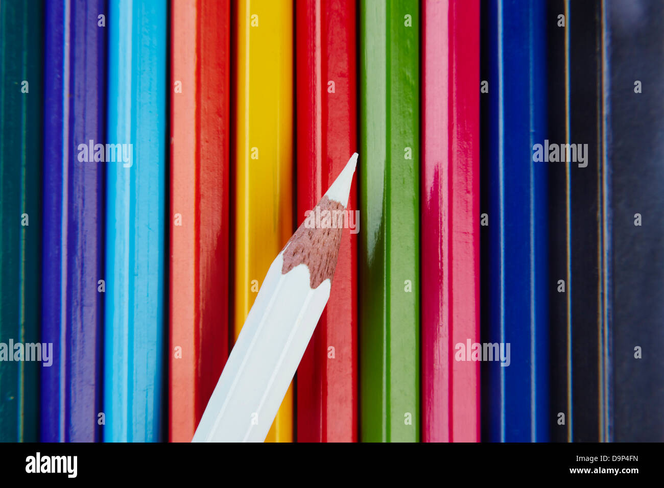 One white colored pencil on top of the rest - Stock Image
