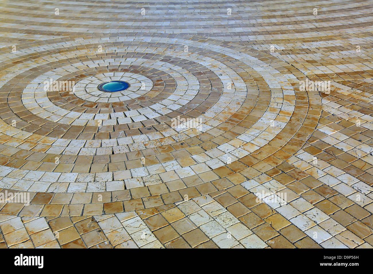 Spiral design floor tiles in Glories, Barcelona, Spain - Stock Image