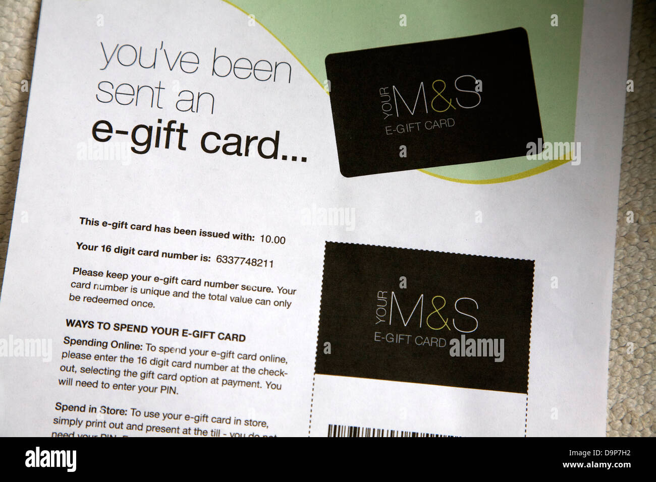 e-gift card for Marks and Spencer