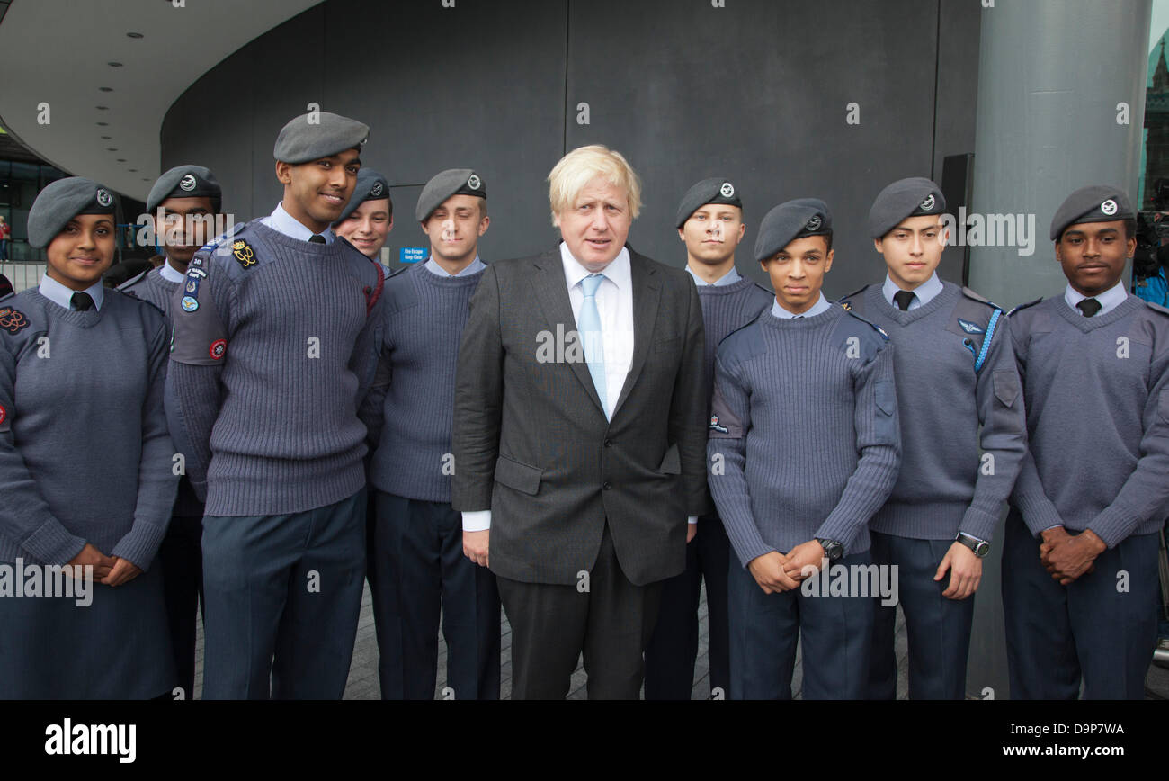 London, UK. 24 June 2013. Pictured: Boris Johnson with RAF cadets. The Mayor of London, Boris Johnson, was today - Stock Image