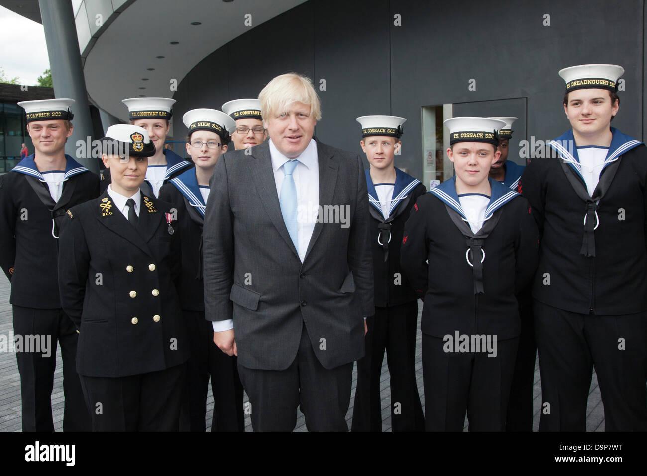 London, UK. 24 June 2013. Pictured: Boris Johnson with Sea Cadets. The Mayor of London, Boris Johnson, was today - Stock Image