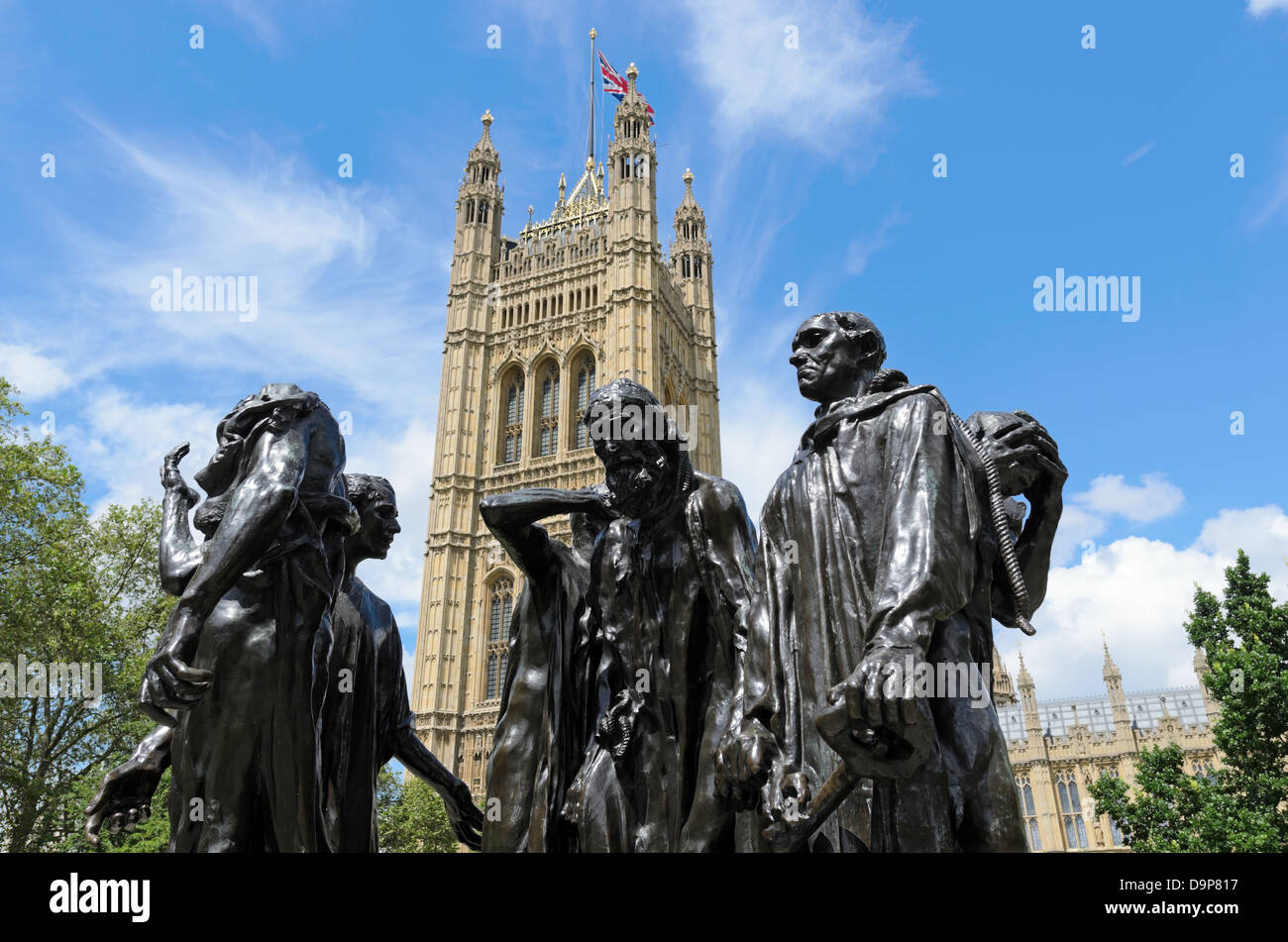 Les Bourgeois de Calais sculpture by Auguste Rodin completed in 1889 in front of Victoria Tower London England. - Stock Image