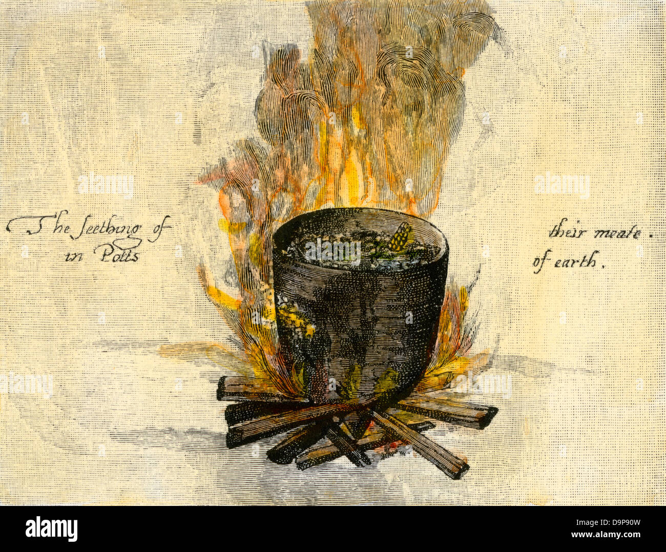 Native American cookpot, Virginia Colony, 1585. Hand-colored woodcut of a John White illustration - Stock Image