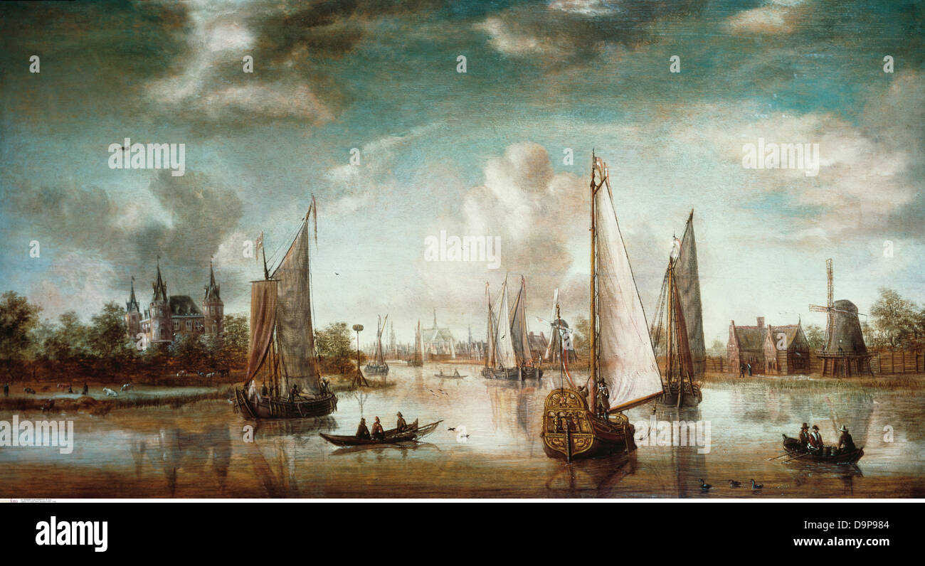 fine arts, Storck, Abraham (1644 - 1708), painting, 'Amsterdam Port Entrance' 18th century, historic, historical, - Stock Image