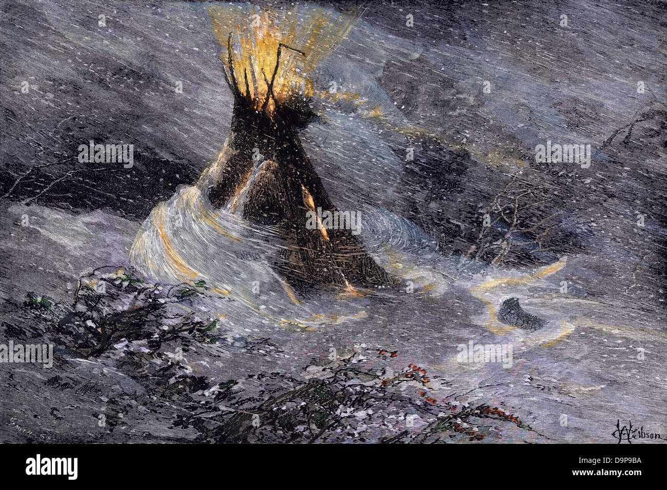 Native American tepee in a snowstorm, emitting embers from center smoke-hole. Hand-colored woodcut - Stock Image