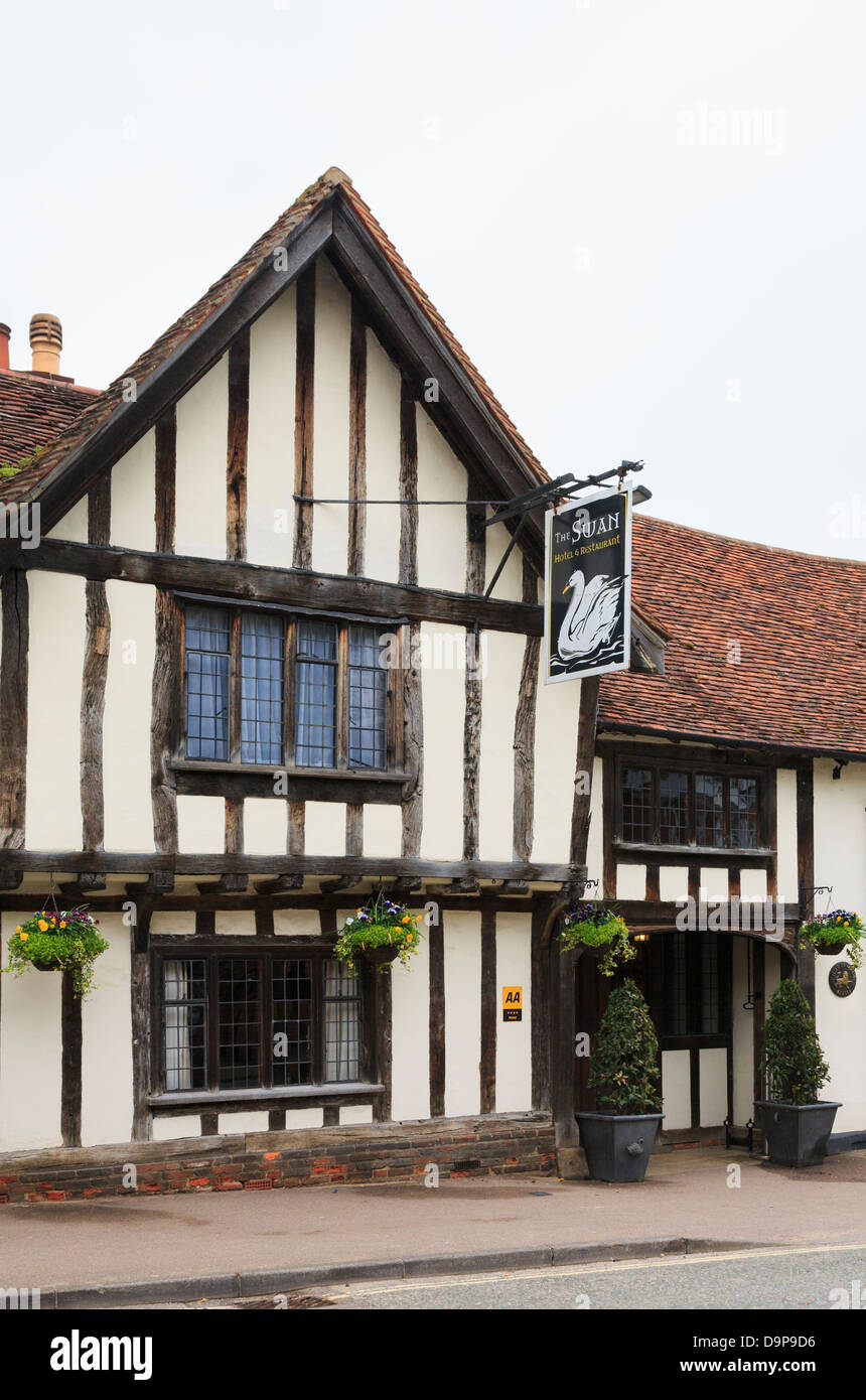 15th century Swan Hotel in a timbered building in medieval village High Street, Lavenham, Suffolk, England, UK, Stock Photo