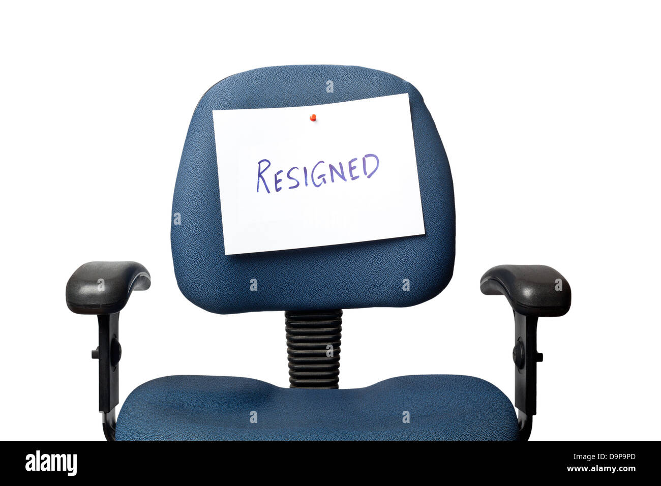 Office chair with a RESIGNED sign isolated on white background - Stock Image