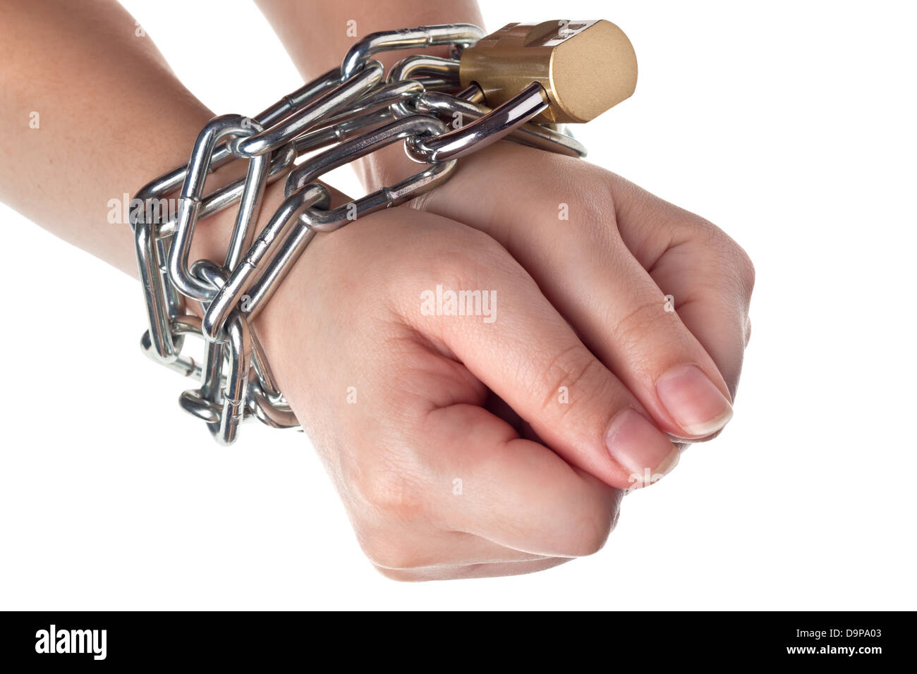 Two hands securely tied by metal chain isolated on white background Stock Photo