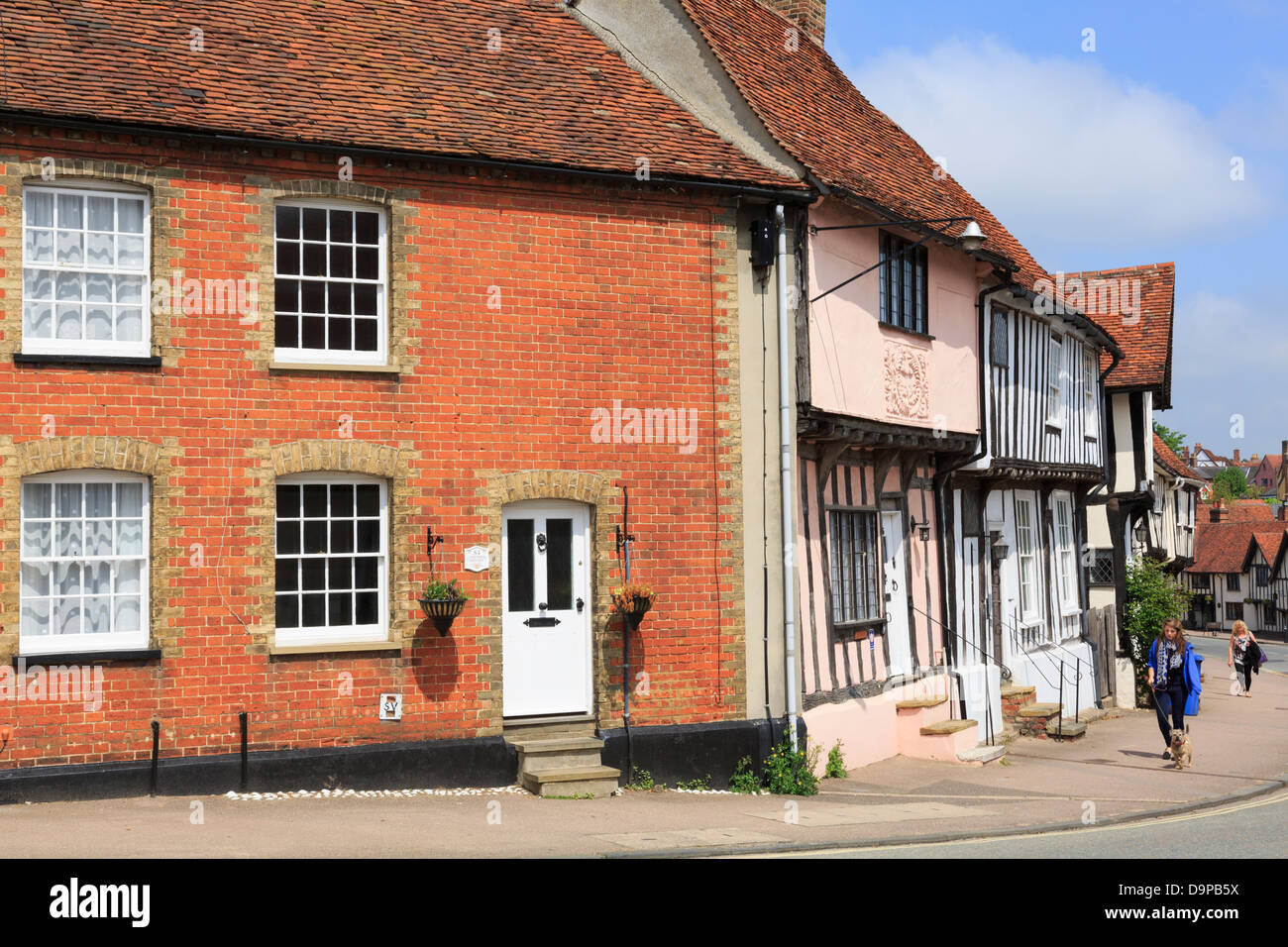Old houses on the main street in the medieval village of Lavenham, Suffolk, England, UK, Britain - Stock Image