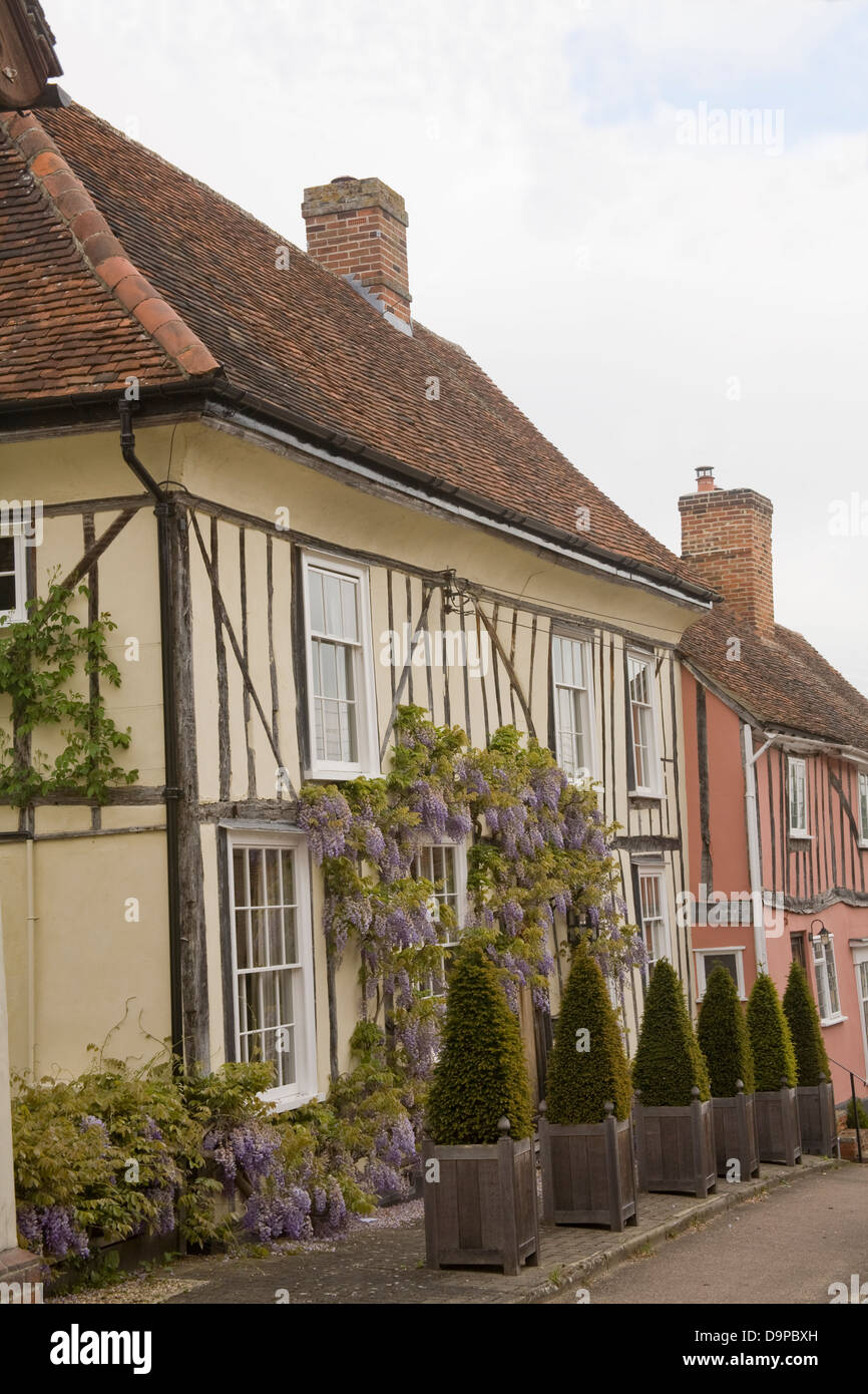 Lavenham Suffolk East Anglia England Terrace of Medieval properties in beautiful historic village - Stock Image