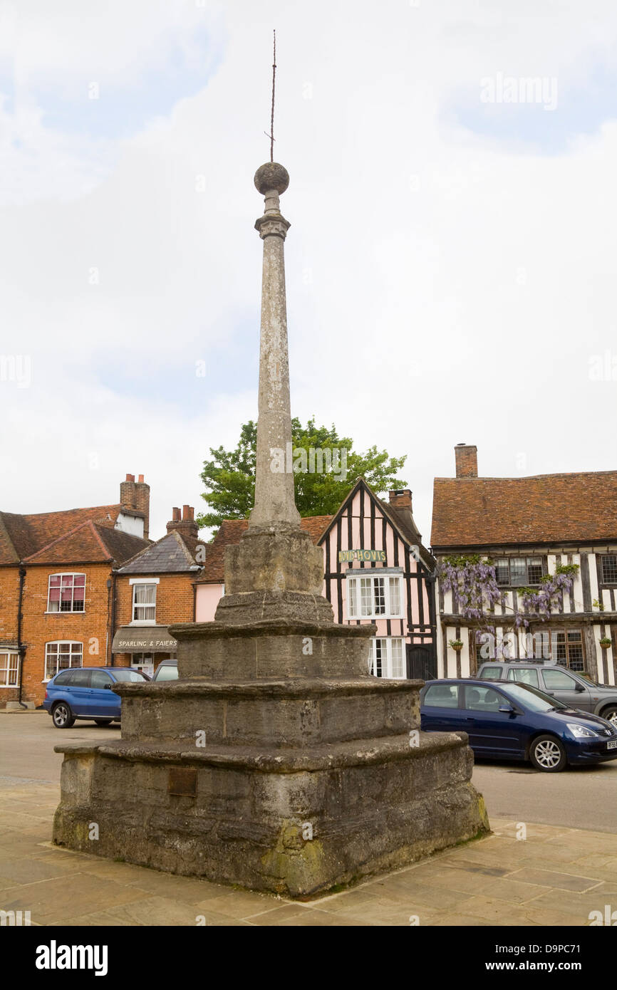 Lavenham Suffolk East Anglia England Market Cross in Market Place in beautiful medieval village - Stock Image