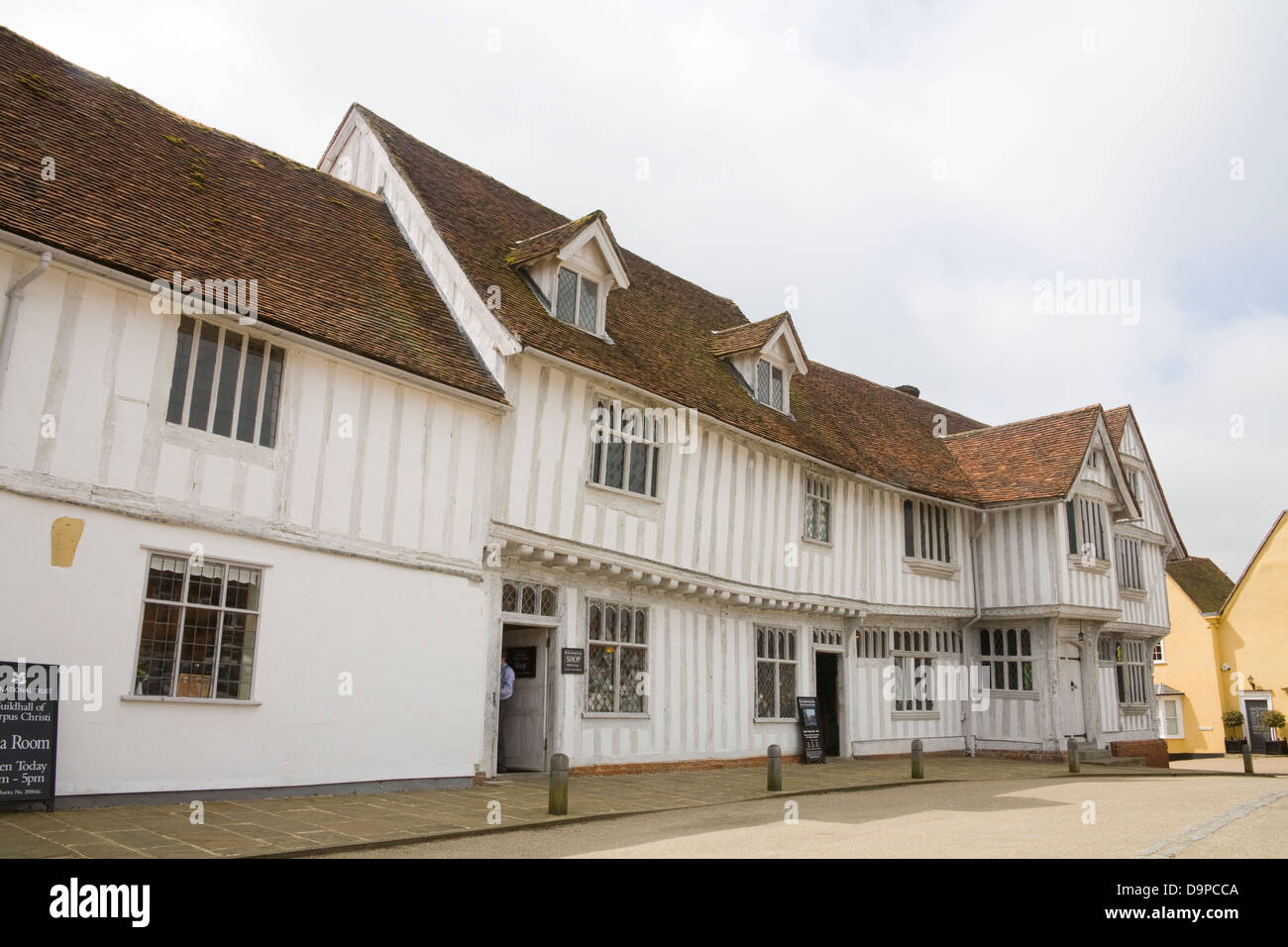 Lavenham Suffolk East Anglia England 17thc Guildhall of Corpus Christi in Market Place of lovely medieval village - Stock Image