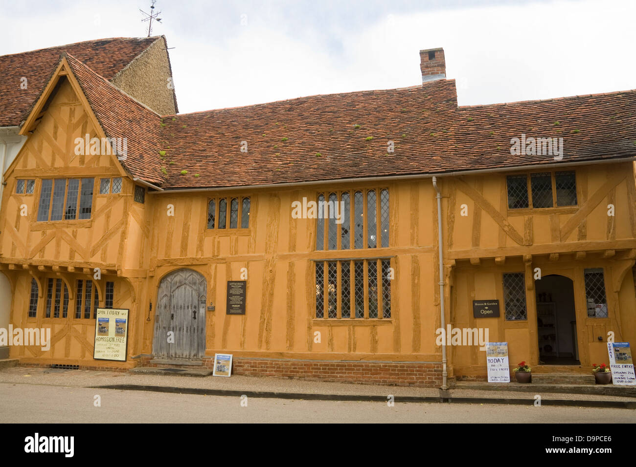 Lavenham Suffolk East Anglia England 14thc Tudor Little Hall museum in Market Place one of oldest buildings in medieval - Stock Image