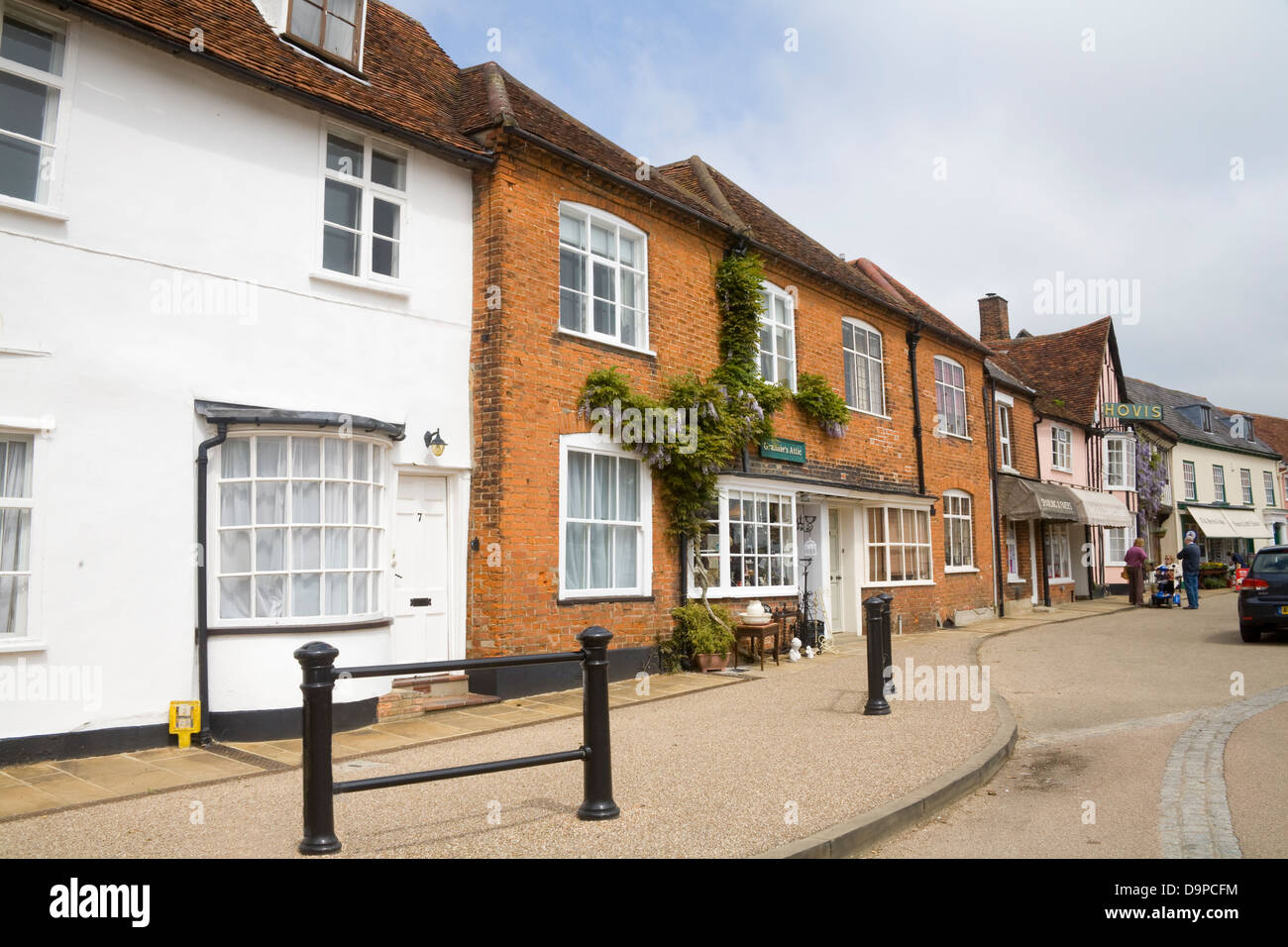 Lavenham Suffolk East Anglia England Medieval properties in Market Place of beautiful historic village Stock Photo