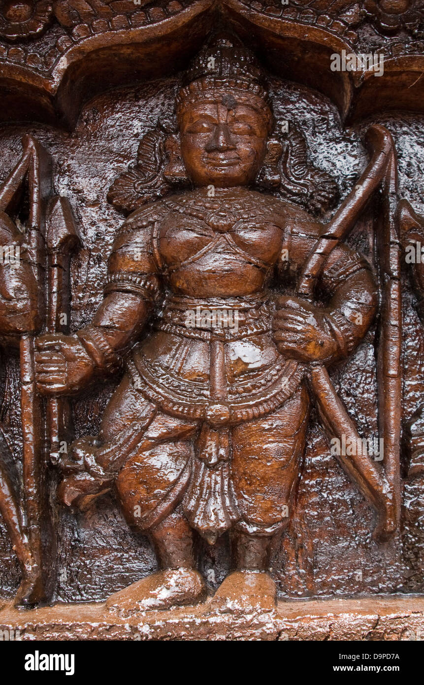 Asia, India, Karnataka, Udipi, Udupi Krishna Temple, figure on a temple chariot Stock Photo
