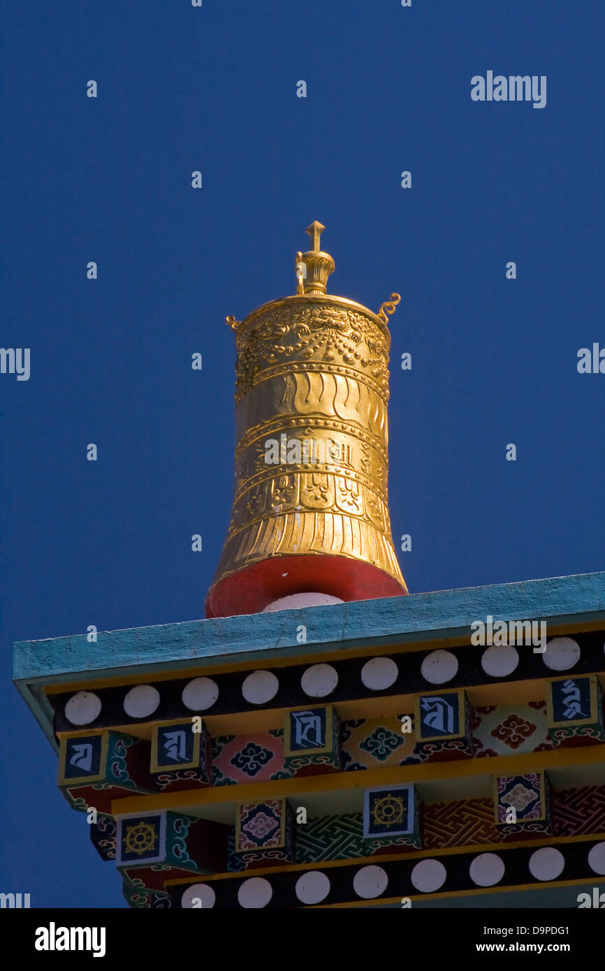 Asia, India, Karnataka, Bylakuppe, Golden Temple,prayer mill - Stock Image