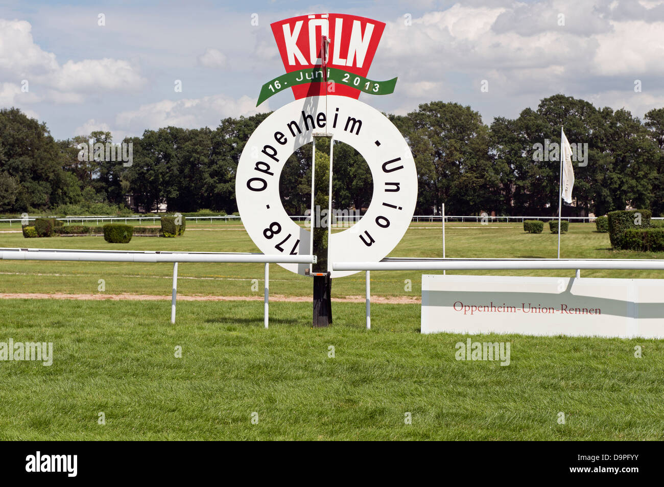 Horse racing wining post Cologne Germany - Stock Image