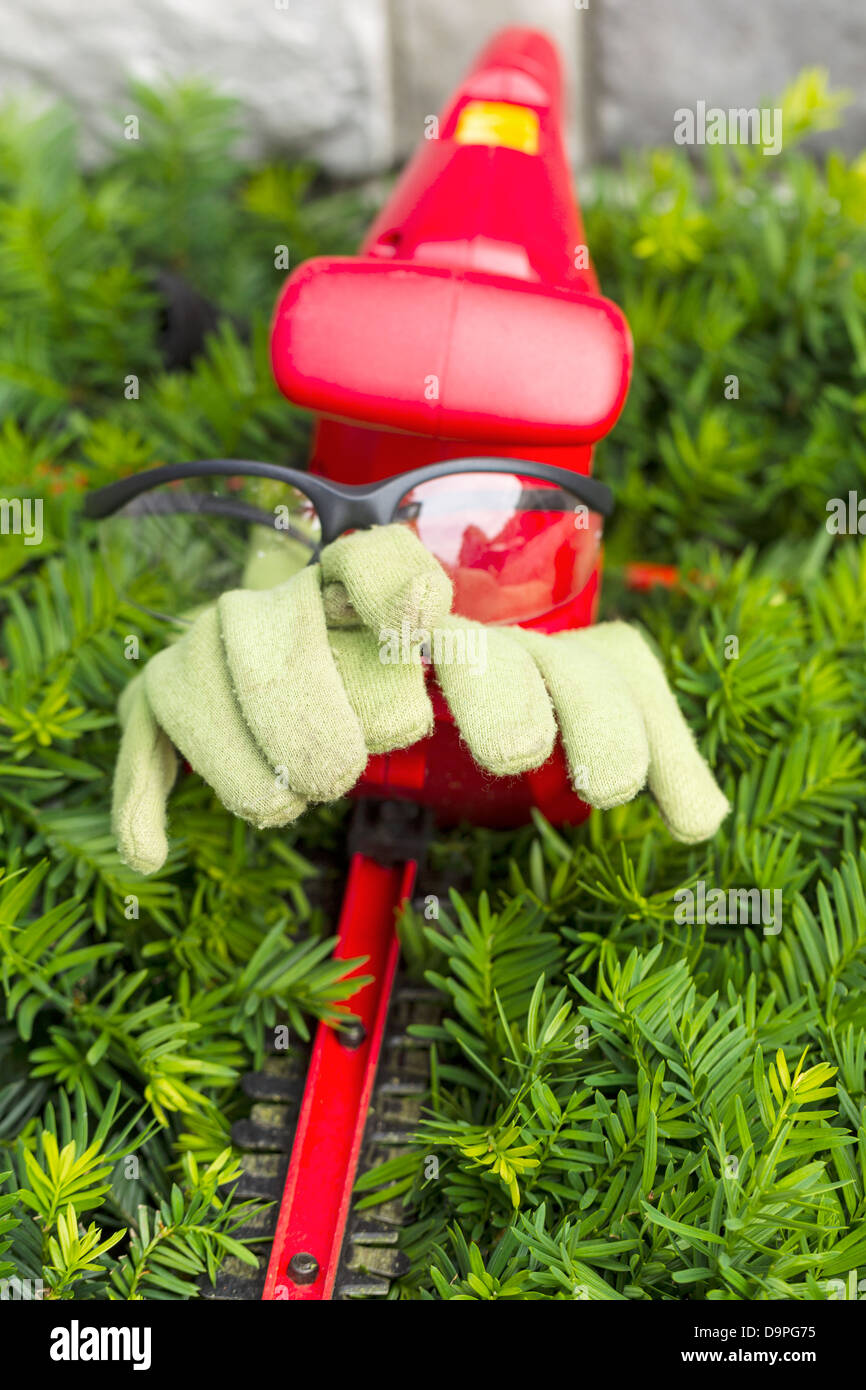 Vertical photo of light green work gloves and safety glasses sitting on top of electrical power cutting shears over - Stock Image
