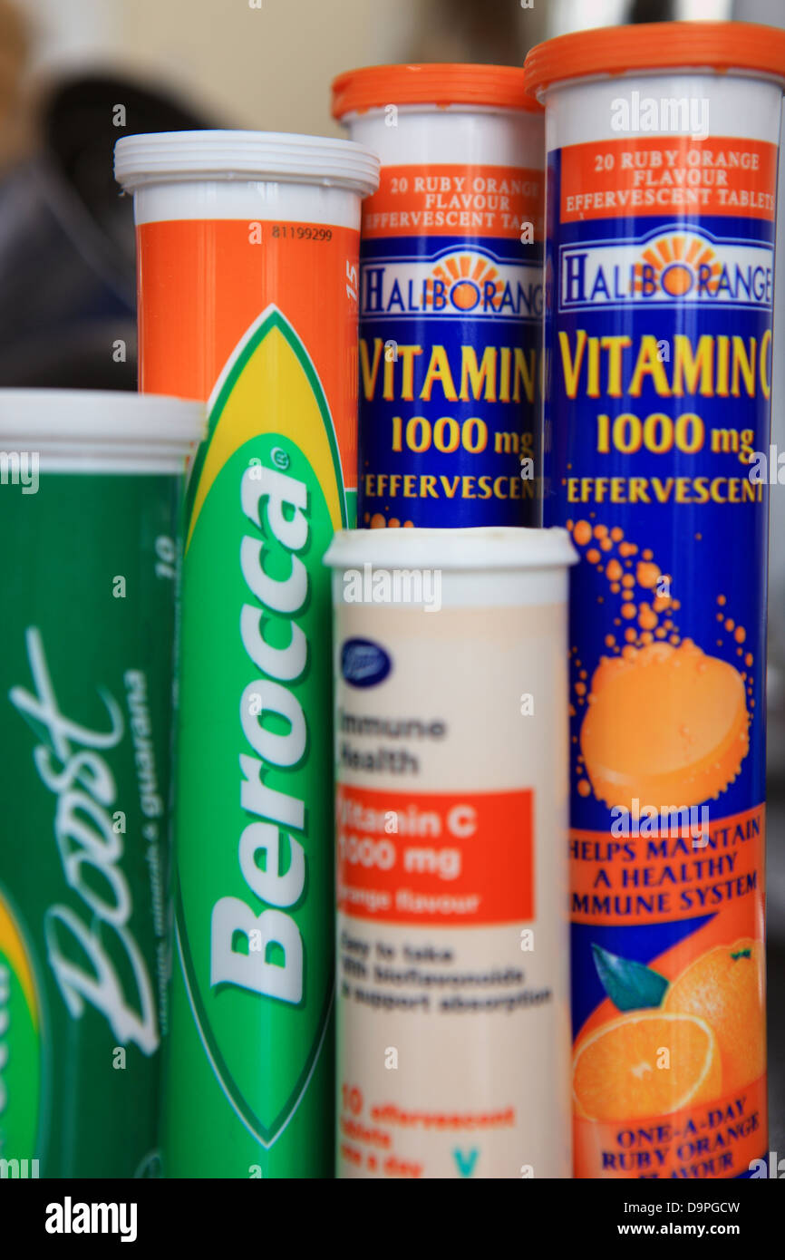 Various types of effervescent vitamin C tablets - Stock Image