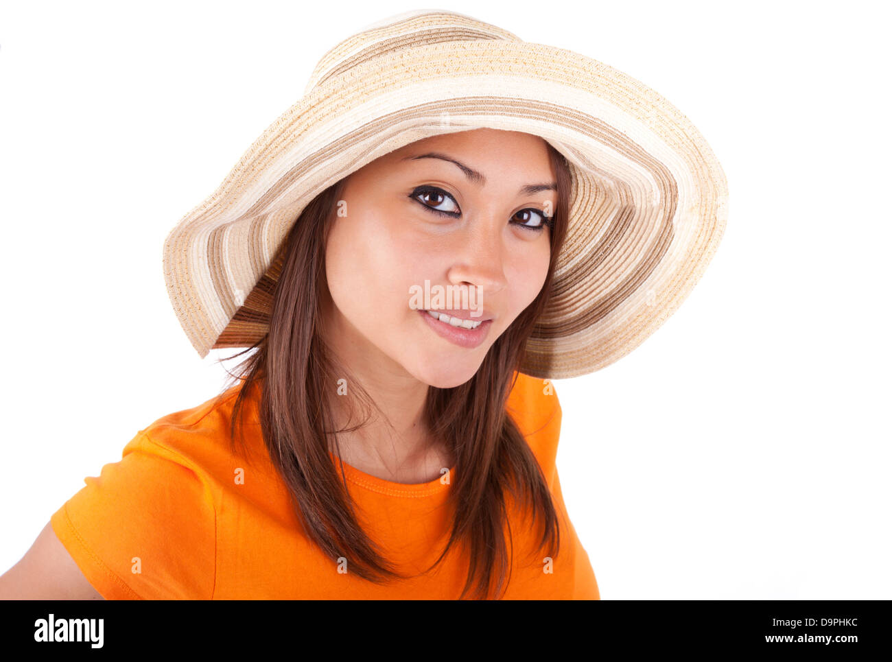 Portrait of a young beautiful asian woman in summer clothes isolated on white background - Asian people Stock Photo