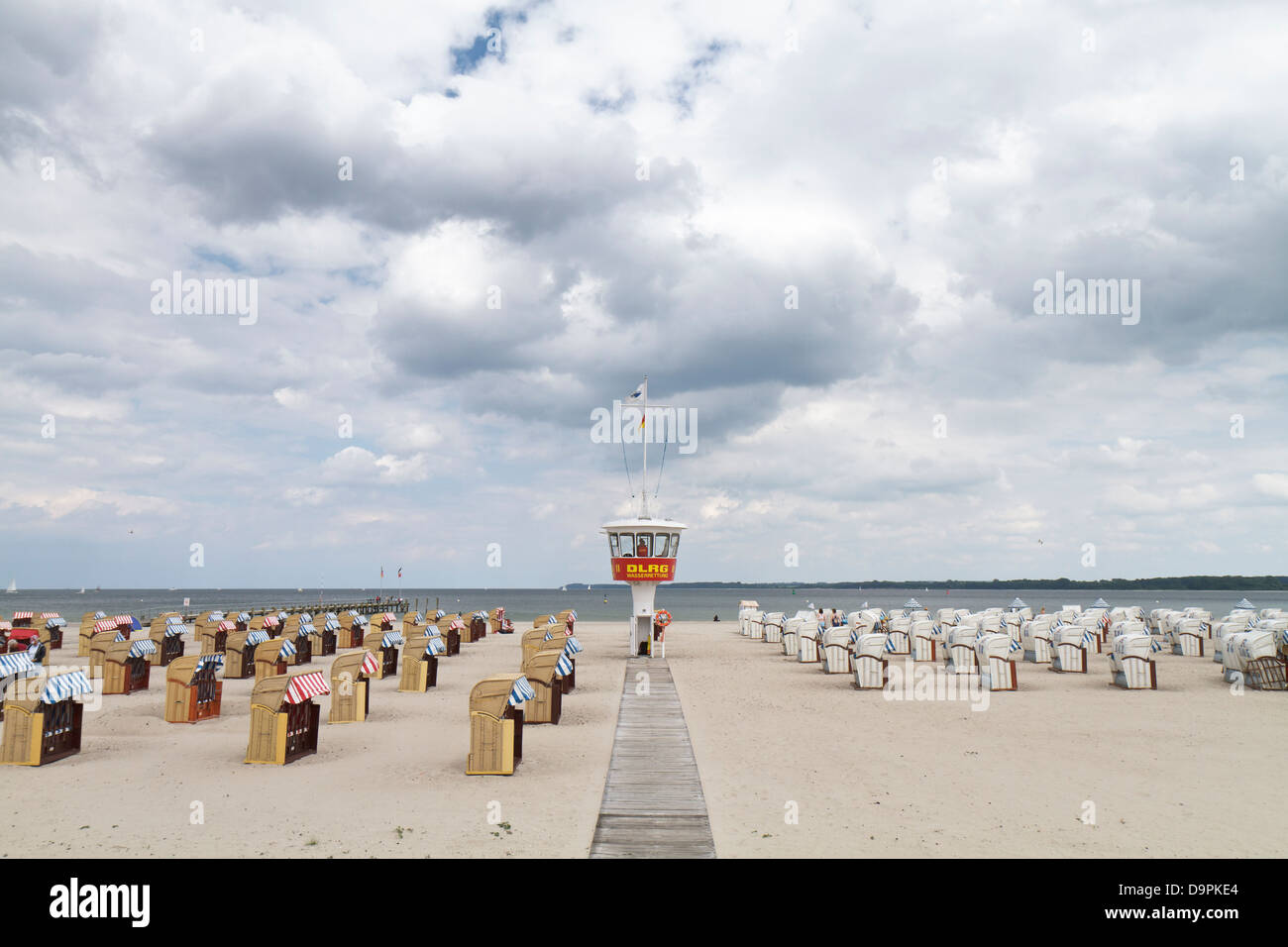 DLRG (Deutsche Lebens-Rettungs-Gesellschaft e.V.) post in Travemünde on the Baltic Sea. - Stock Image