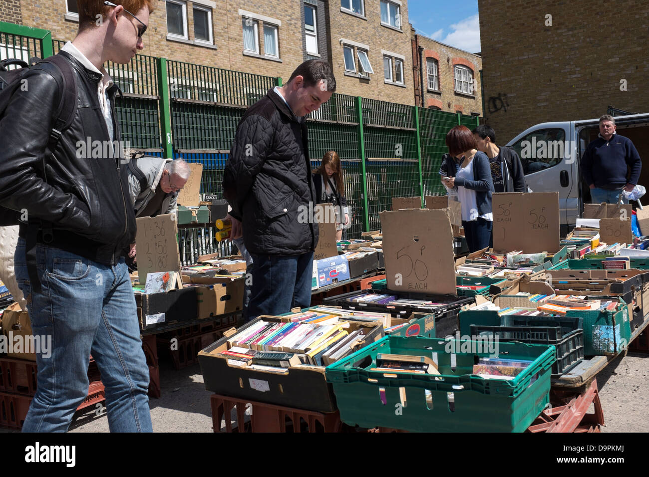 Secondhand Bookstall Brick Lane Market London - Stock Image