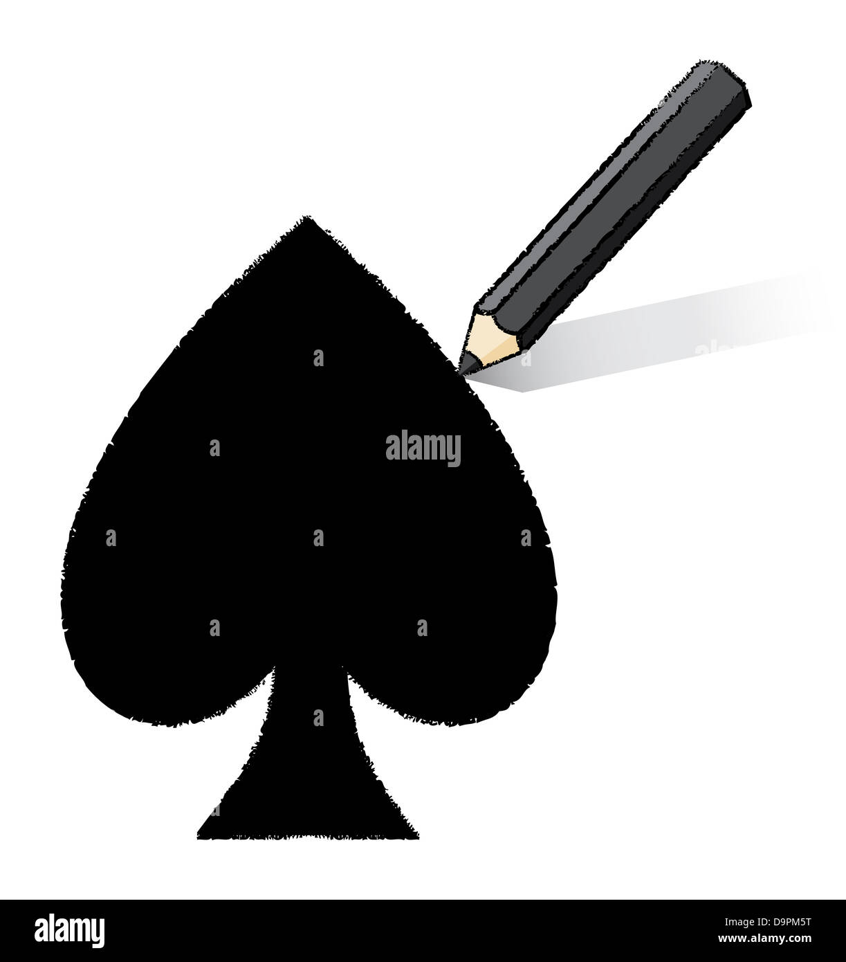 Black pencil drawing solid ace of spades playing card icon