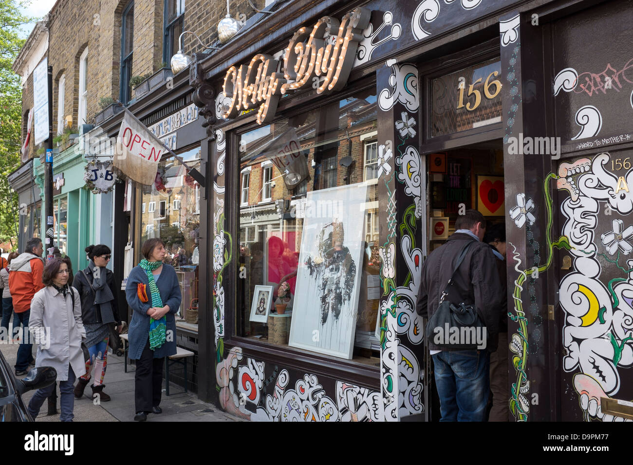 Nelly Duff Art Gallery Columbia Road London - Stock Image