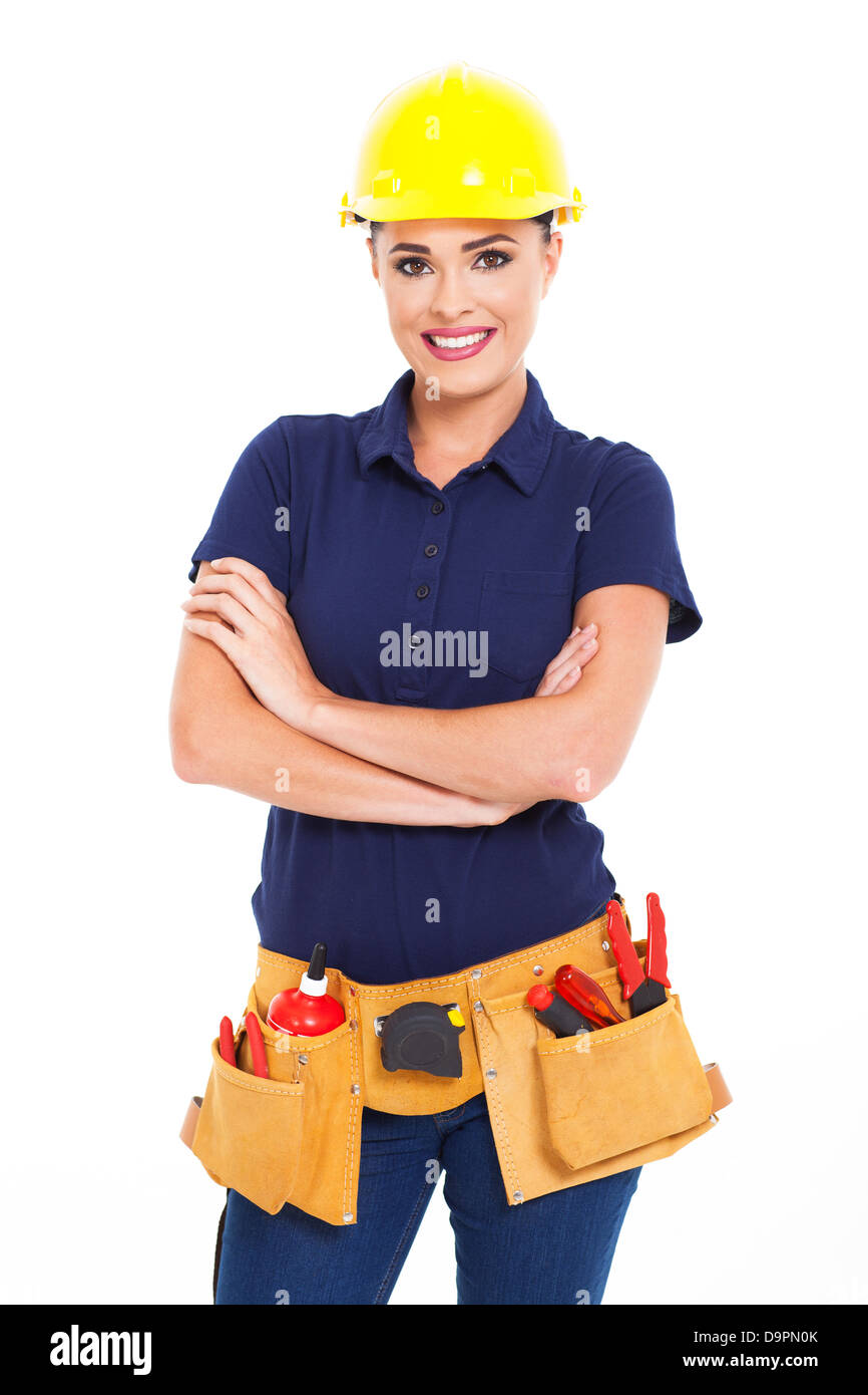 beautiful female construction contractor half length isolated on white - Stock Image