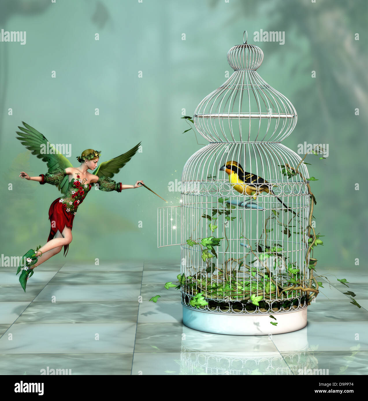 a fairy freed a bird out of the cage 3d Computer Graphics - Stock Image
