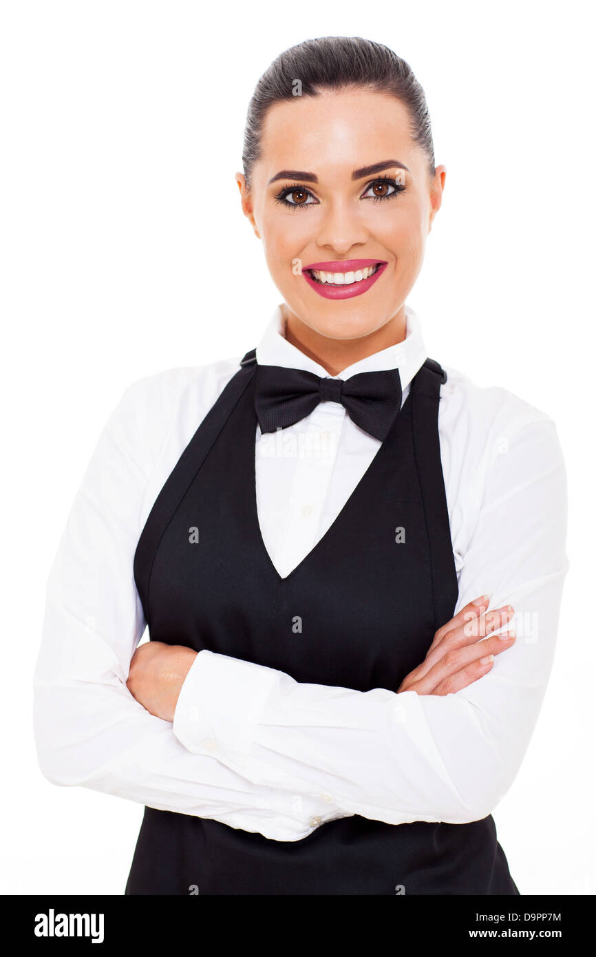 attractive young waitress half length portrait - Stock Image