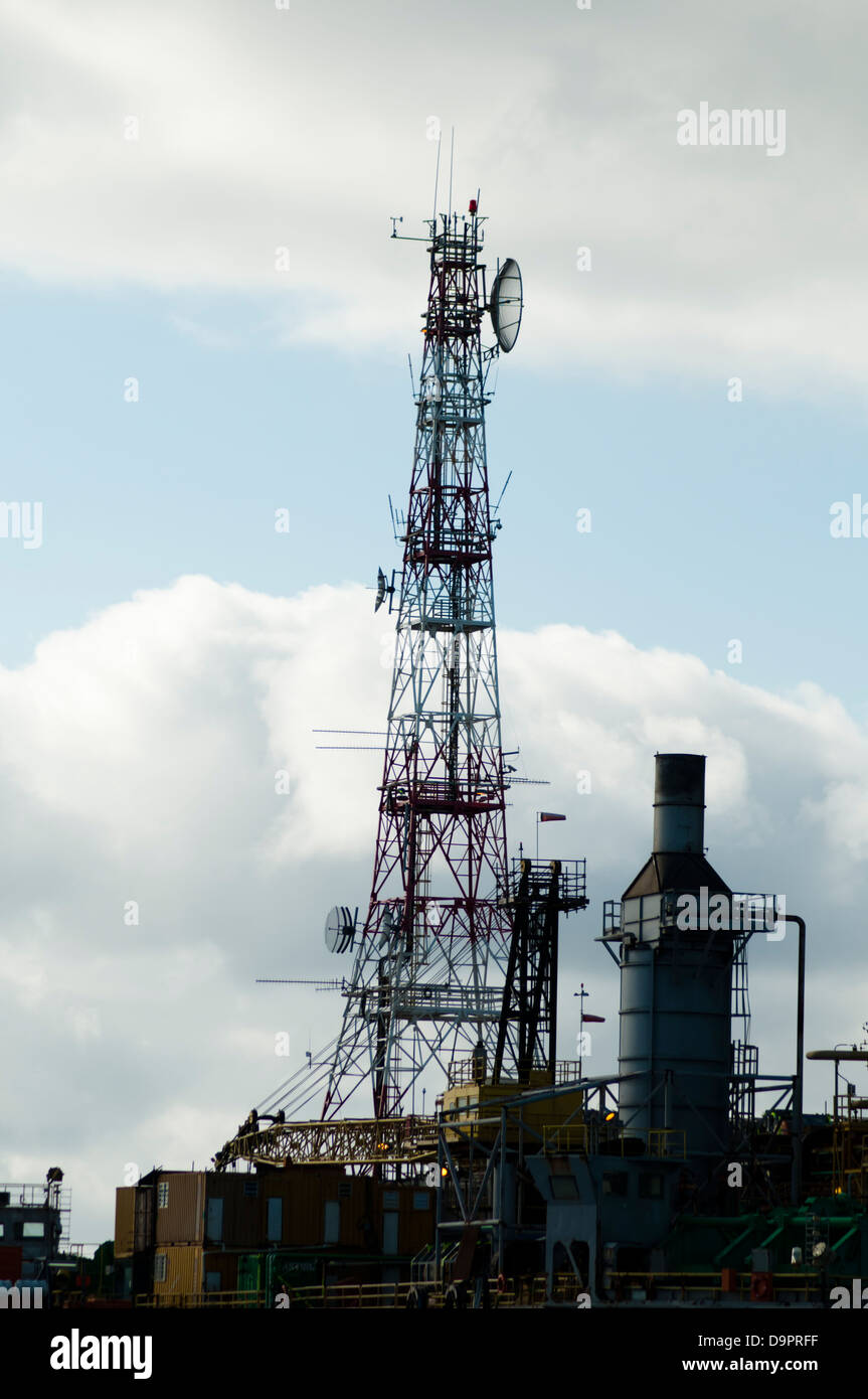 communication tower at an offshore oil rig. Stock Photo
