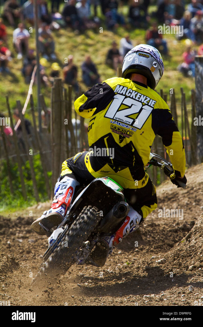 A rider from the Maxxis British Motocross Championship at the Foxhill's round - Stock Image