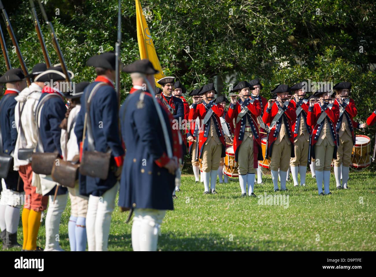 Revolutionary War reenactment at Colonial Williamsburg, Virginia, USA - Stock Image