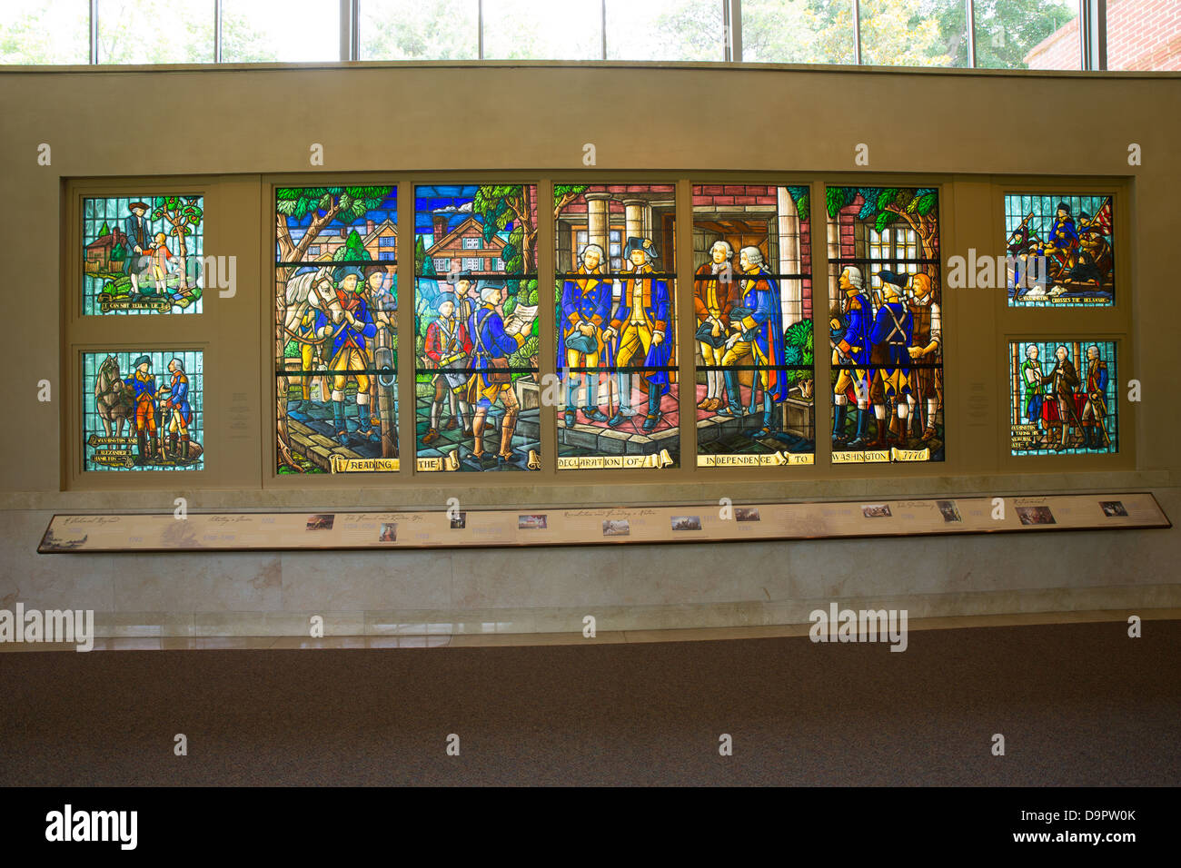 Stained Glass mural of George Washington at Mt. Vernon visitor center, Virginia,  USA Stock Photo