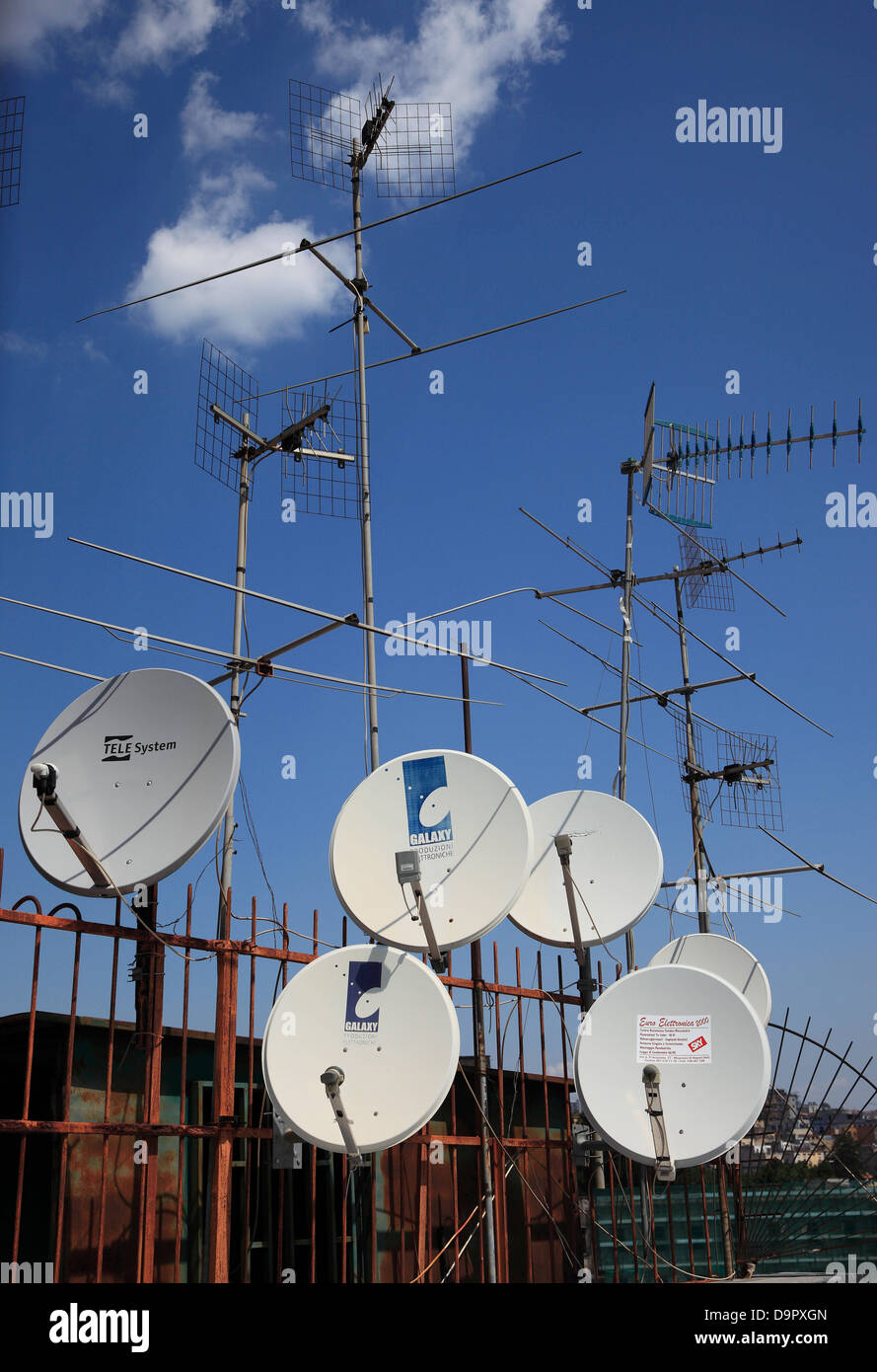Antenna Collection over the rooftops of Naples, Campania, Italy - Stock Image
