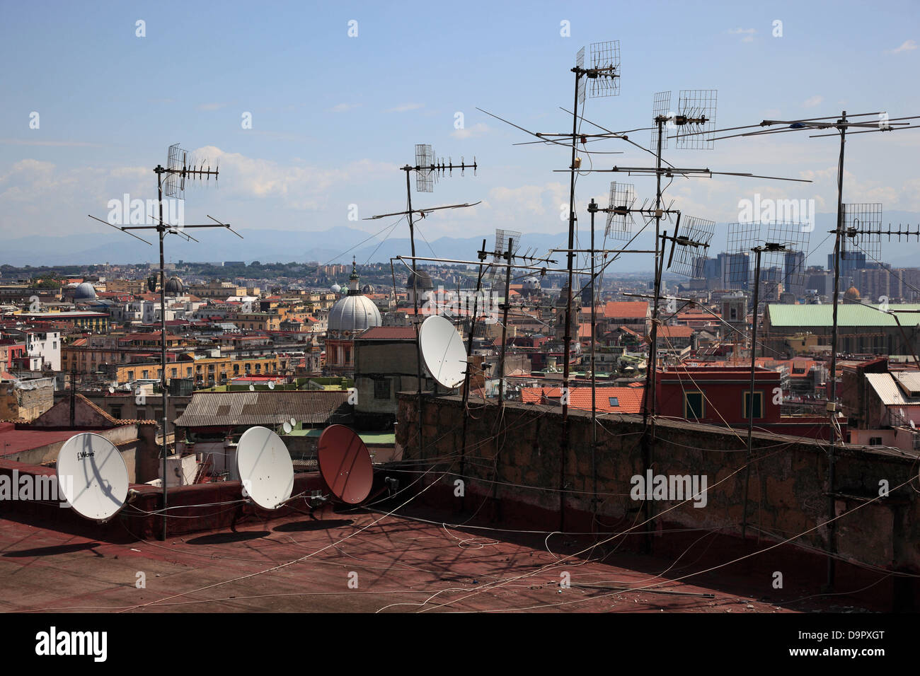 View from Vomero hill on the antennae of the city of Naples, Campania, Italy - Stock Image