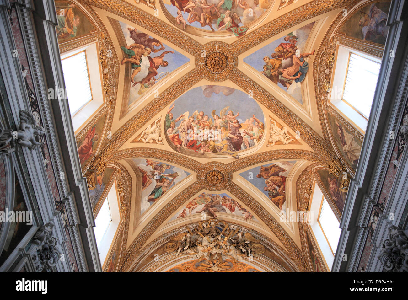 Ceiling of the church in the Certosa di San Martino on the above Vomero Naples, Campania, Italy - Stock Image